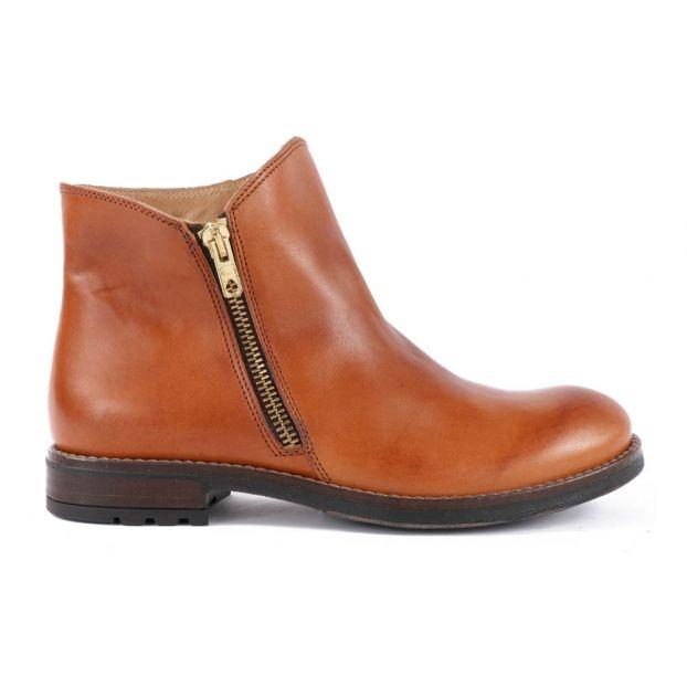 af8844fa3c241 Leather Zip-Up Ankle Boots Caramel