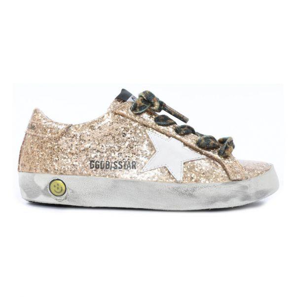 46740b3dd873f Baskets Basses Glitter Lacets Leopard Superstar Doré Golden