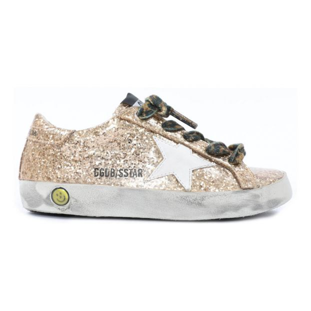 Leopard Lace-Up Glitter Trainers Gold