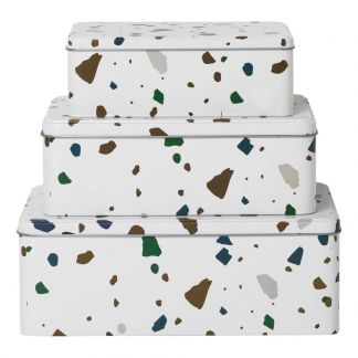 Boîtes Terrazzo - Set de 3 Gris