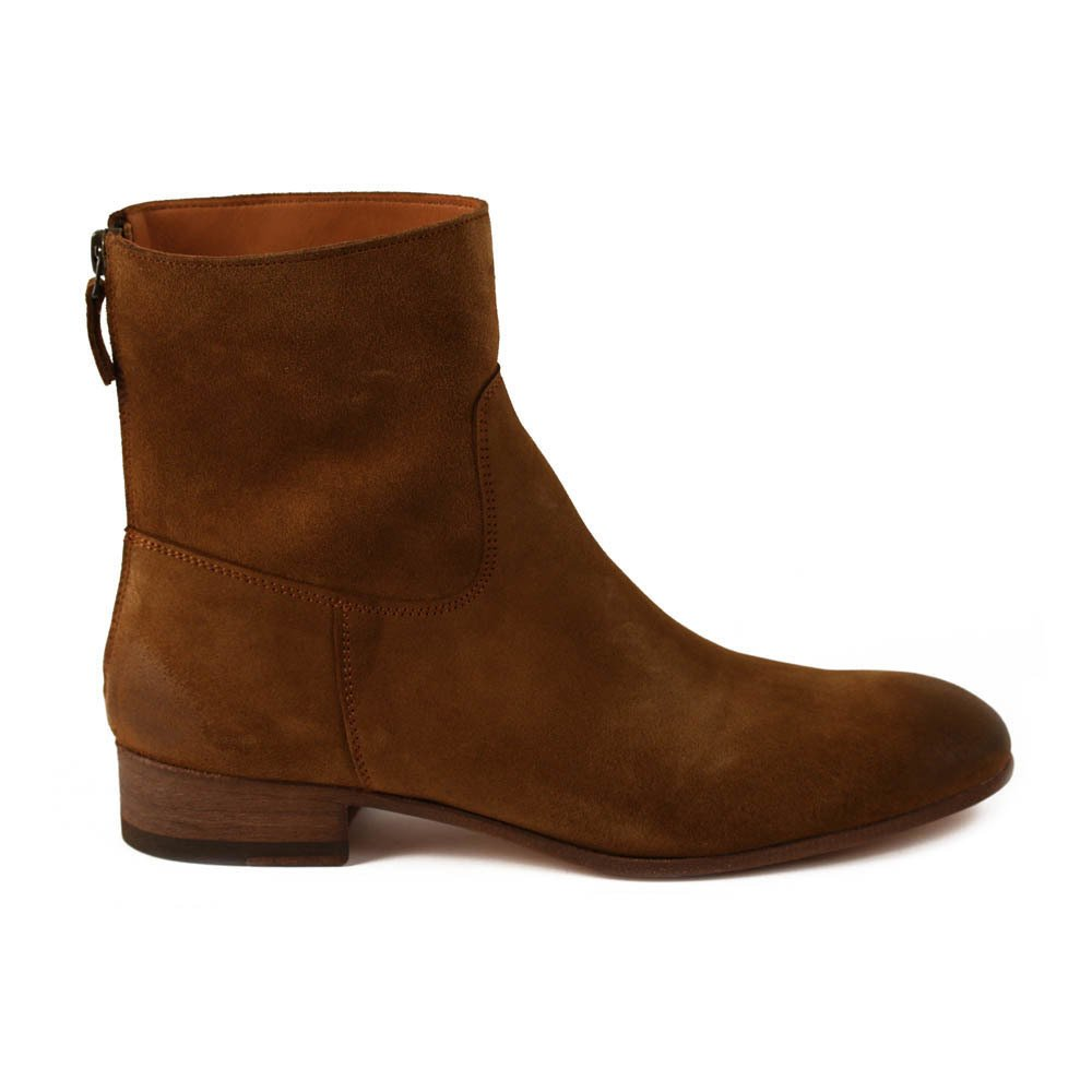 Suede Zip-Up Flat Boots Camel Anthology