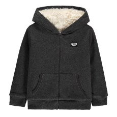 product-Hundred Pieces Tape Fur Lined Zip-Up Hoodie