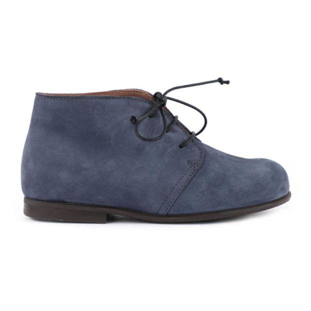 73f4db6510eab Bottines à Lacets Nubuck Bleu Pèpè Chaussure Enfant