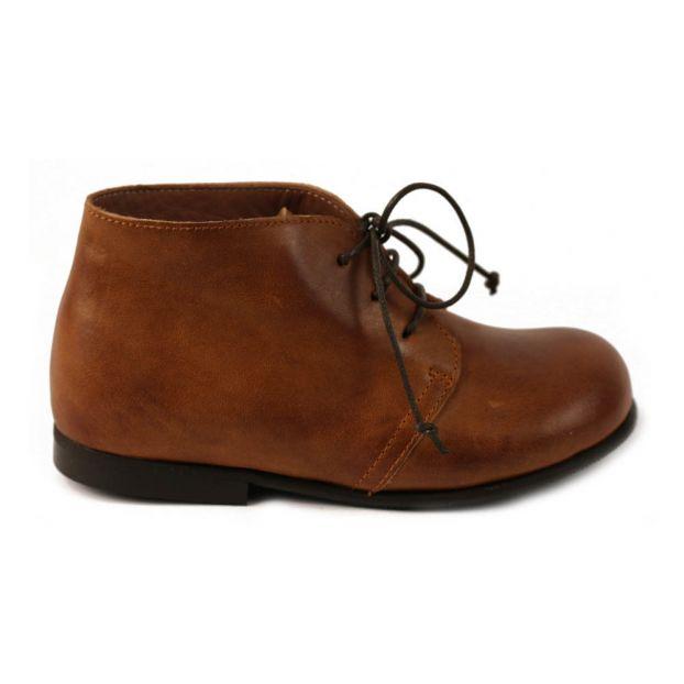 86adff9b14229 Bottines à Lacets Cuir Modena Marron Pèpè Chaussure Enfant