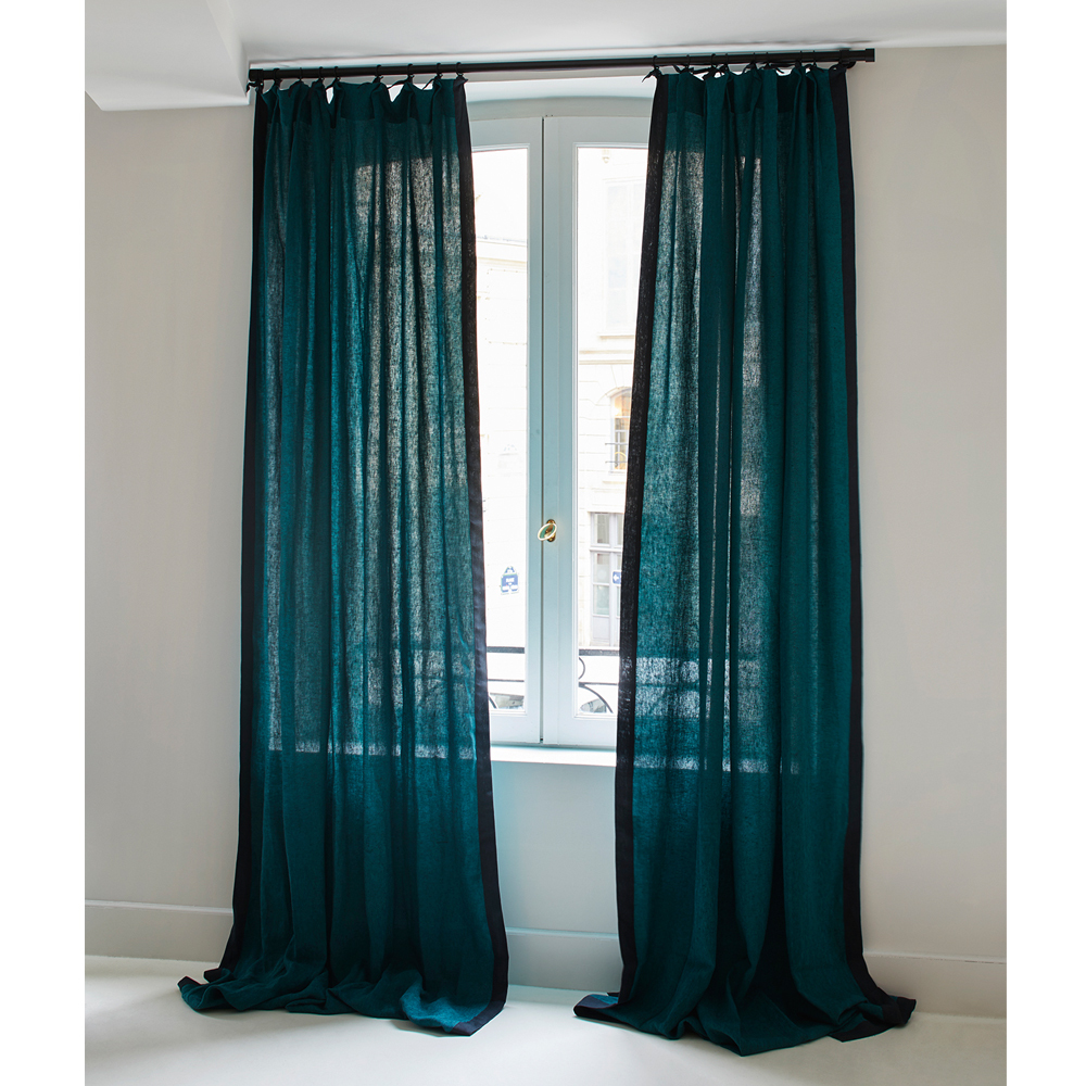 Rideau Ava en lin 100x300 cm chiné noir Bleu Sarah Maison Sarah
