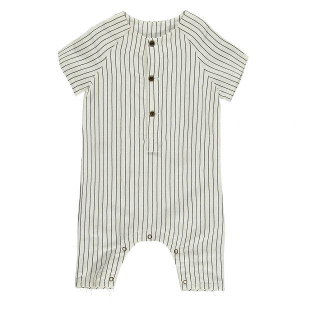 c6e53d126a93 Tap Striped Linen Jumpsuit White Little Creative Factory Fashion