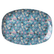 product-Rice Small Flower Printed Rectangle Plate