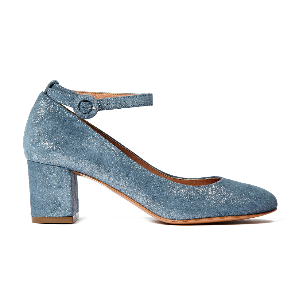 Darling Ankle Strap Iridescent Court Shoes Blue Sessun D Island Casual Zappato England Suede Dark Brown