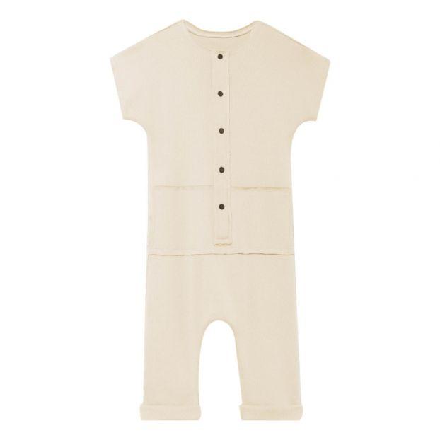 7e85fe04735a Ribbed Button Jumpsuit Ecru Little Creative Factory Fashion