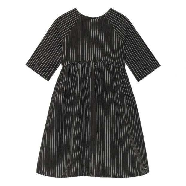 6d119f594648 Tap Striped Linen Dress Black Little Creative Factory Fashion