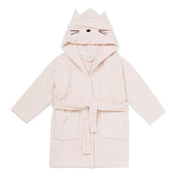 Lily Cat Organic Cotton Sweat Dressing Gown Pink Liewood Design