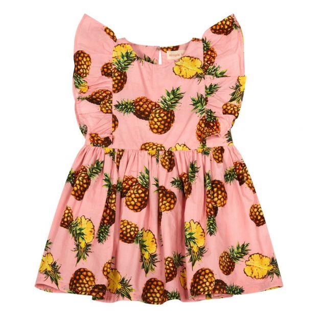 858ecab4ad9 Maize Pineapple Ruffled Dress Pink Simple Kids Fashion Children