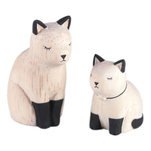 Siamese Cat Wooden Figurines Set Of 2
