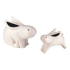 product-T-Lab Figurines en bois Lapins - Set de 2