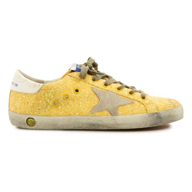 38c6ef76b5f50 Superstar Star Suede Glitter Low Top Trainers Lemon yellow Golden