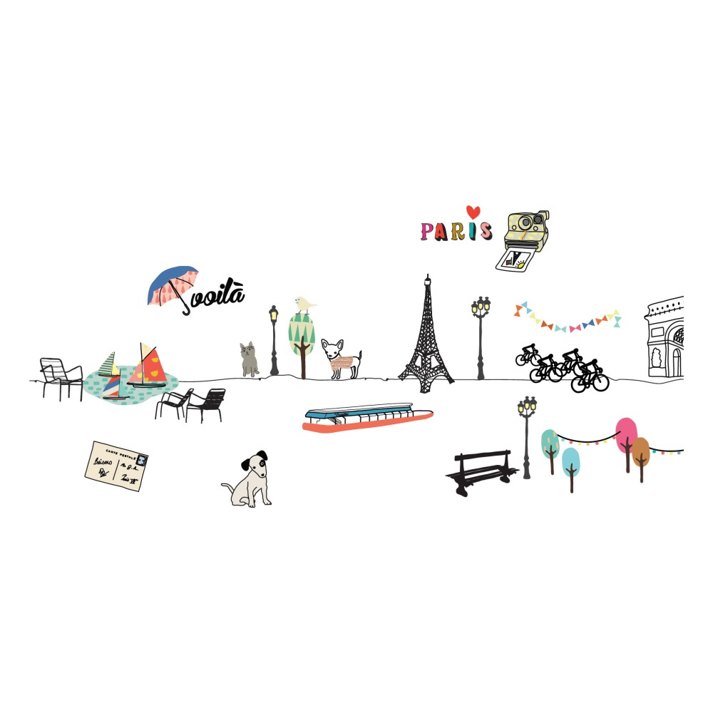 Wall Sticker Paris Mimilou Design Children Mao Mini Market Playset Pink