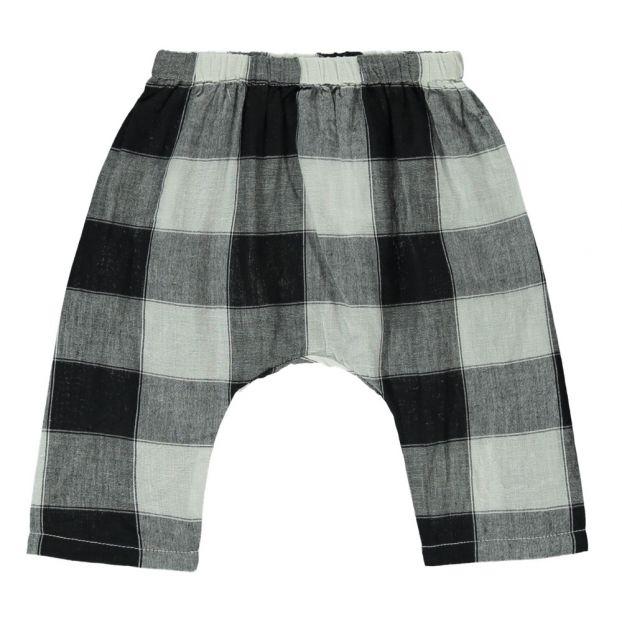 e275e6c17534df Checked Organic Cotton Harem Trousers Grey Ketiketa Fashion Baby