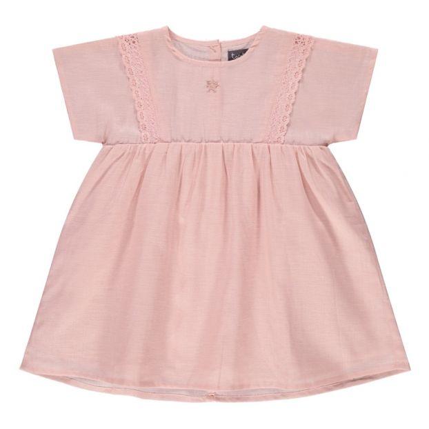 961075bec1 Lace Detail Linen and Cotton Dress Pink Tocoto Vintage Fashion
