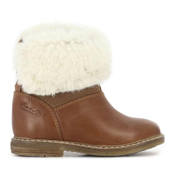 b7fab580afffd Boots Cuir Fourrées Retro Chabraque Camel Pom d Api Chaussure