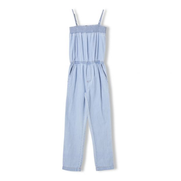 46850276c Irona Elasticated Jumpsuit Denim bleached Finger in the nose