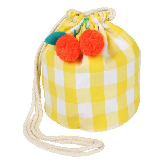 728b6c37fb4 Gingham and Cherry Pompom Bucket Bag Yellow Meri Meri Fashion
