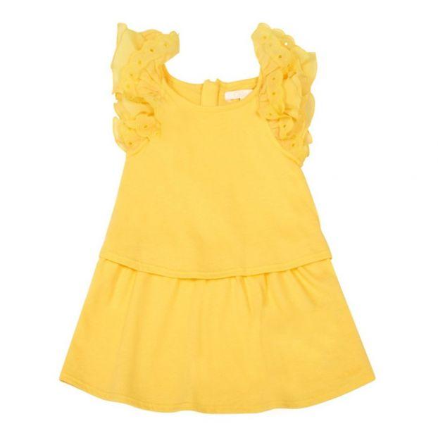 cd0bf61ebe1 Percale Ruffle Lined Dress Yellow Chloé Fashion Teen