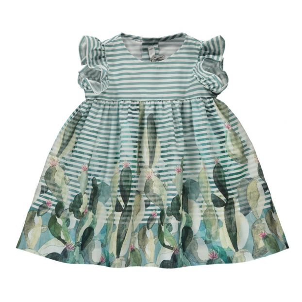 10777280f11 Cactus Stripe Dress Celadon Il Gufo Fashion Baby