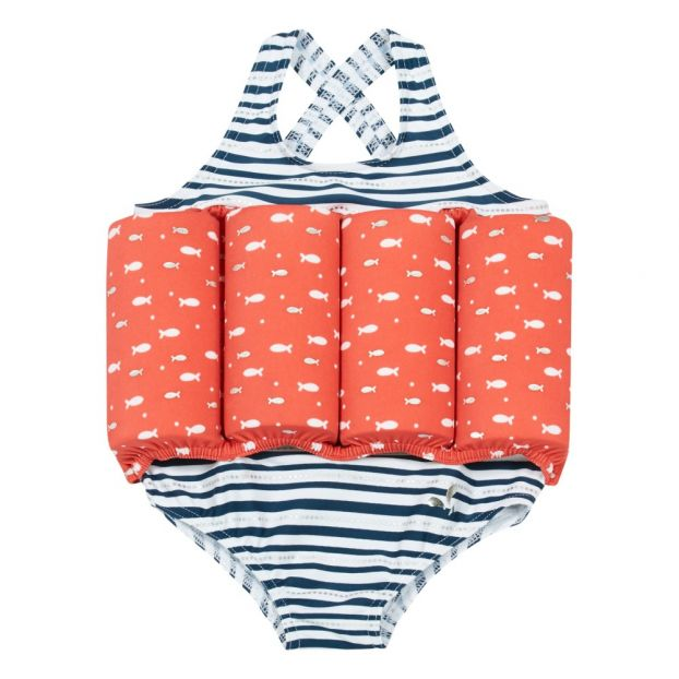 a773454360 Ocean Striped 1 Piece Swimsuit Red Archimède Fashion Baby