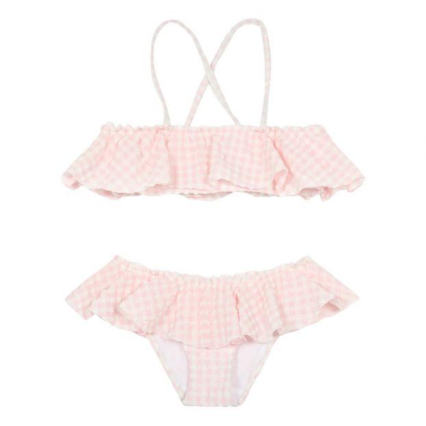 9abca21e17810 Andrina Ruffled Gingham 2 Piece Swimsuit Pink Bonton Fashion
