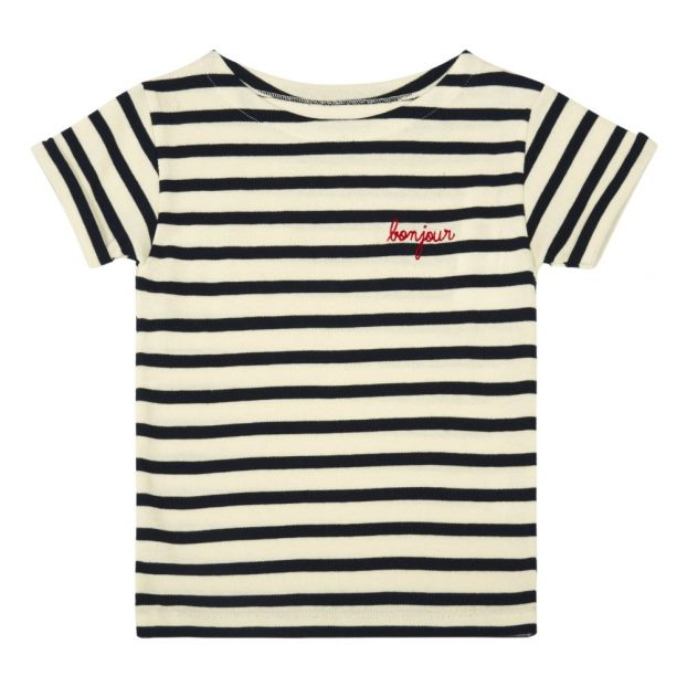9f93f9761 Bonjour Embroidered Stripe T-Shirt Navy blue Maison Labiche