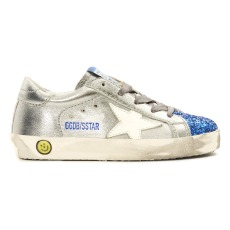 product-Golden Goose Deluxe Brand Baskets Basses Cuir Métallisé Bout Bleu Pailleté Superstar