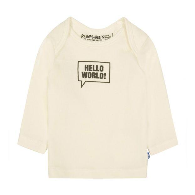 6d5174f895c Hello World Organic Cotton T-Shirt Ecru Imps   Elfs Fashion Baby