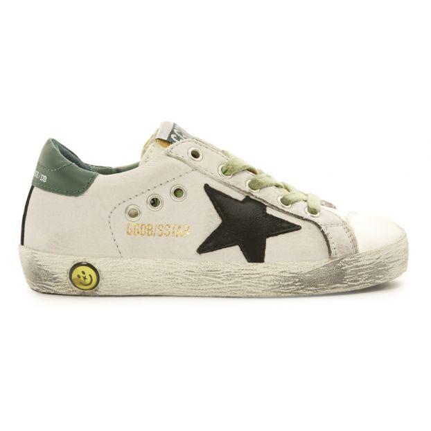 new concept 6ddf5 d1085 Sneaker Rauleder Rückseite Grün Schwarzer Stern Superstar Weiß
