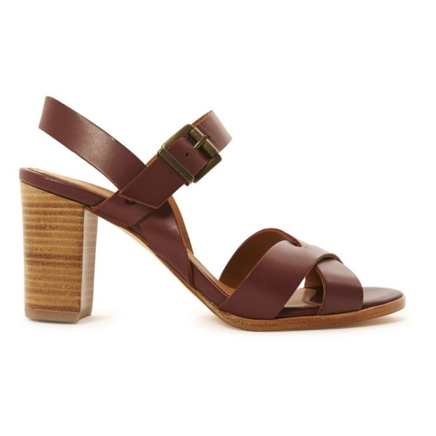 d3a661d21ec Aline Leather Heeled Sandals Burgundy