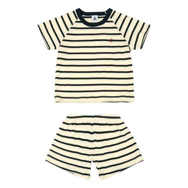 3da46fb282b77 Pyjama Court Brew Bleu marine Petit Bateau Mode Enfant