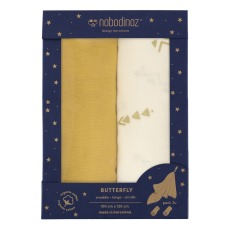product-Nobodinoz Butterfly Double Cotton Gauze 100x120cm - Set of 2
