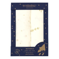 product-Nobodinoz Butterfly Double Cotton Gauze Swaddle 100x120cm - Set o