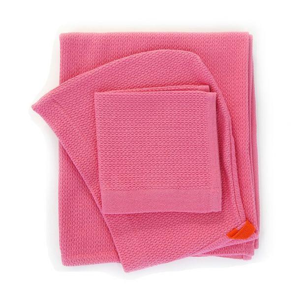 b5a604528412e Capa de baño bebé y manopla de algodón orgánico Rosa Ekobo