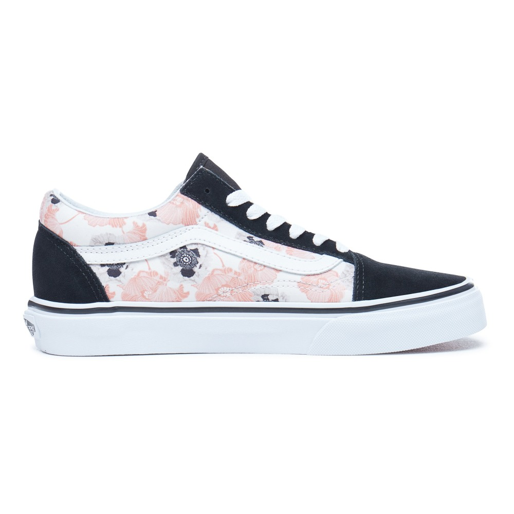 Old Skool Suede and Canvas Floral Laced Trainers Pink Vans Shoes 2e9dcf747fa1