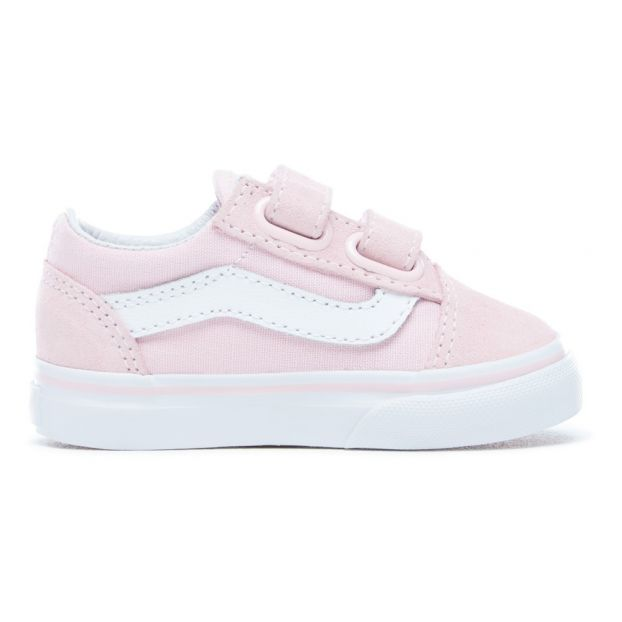 884b366439fc Old Skool Suede and Canvas Velcro Trainers Pink Vans Shoes Baby