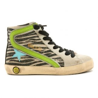 5b8acf570e9c77 Golden Goose Deluxe Brand Lace-up and Zip Zebra Canvas Slide High Top  Trainers-