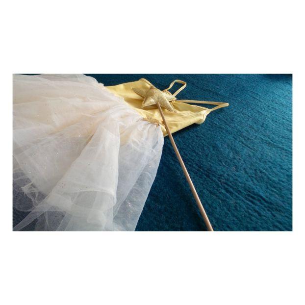 f0e53acf339 Tapis Simplicity en laine bouillie Bleu canard Varanassi Design