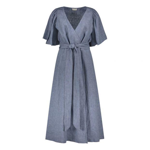 4c090b51c9 Linen Belted Wrap Dress Marled blue Masscob Fashion Adult