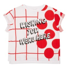 product-Stella McCartney Kids T-shirt in cotone bio a quadretti e pois Plum