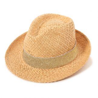 bff174e2 Sombrero de paja lúrex dorado Dorado