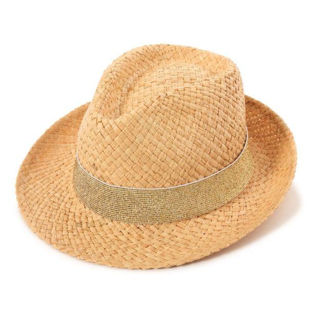 Sombrero de paja lúrex dorado Dorado Obi Obi Moda Infantil  40eb5673b6d