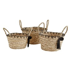 product-Madam Stoltz Tasseled Seagrass Baskets - Set of 3