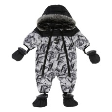 product-Timberland Fleece Lining Printed Snowsuit with Removable Hoodie