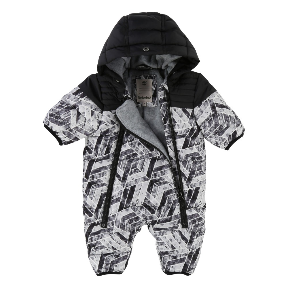 Timberland Fleece Lining Printed Snowsuit With Removable Hoodie