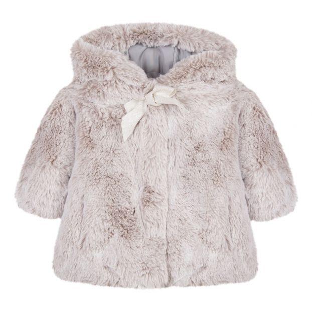 74d251fb5 Faux Fur Coat Taupe brown Tartine et Chocolat Fashion Baby